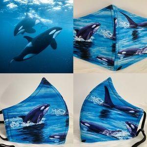 Wild Orcas Killer Whales Designer Aduld face Mask